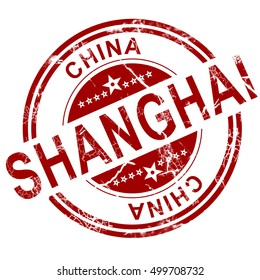 Red Shanghai stamp with white background, 3D rendering
