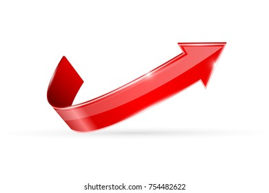 Red shiny UP arrow. 3d illustration isolated on white background