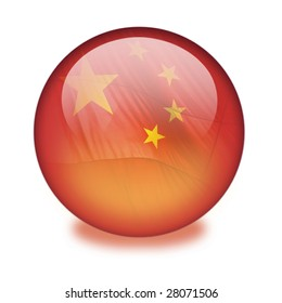 A red shiny orb or sphere with the Chinese flag inside. Clipping path with the orb (without the drop shadow) included.