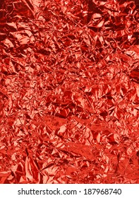 Red shiny wrinkle  foil paper as background