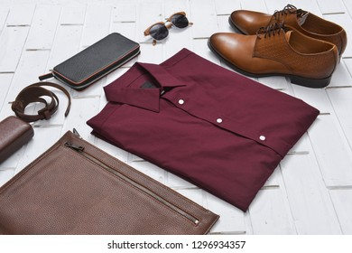 Red Shirt, handbag, shoes,sunglasses, purse, belt  for Men and Women.