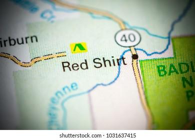 Red Shirt. South Dakota. USA on a map.