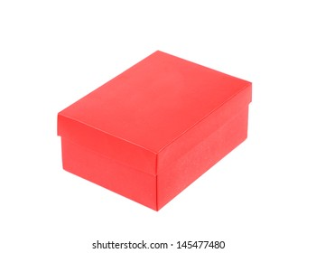 red shoe box isolated on a white background