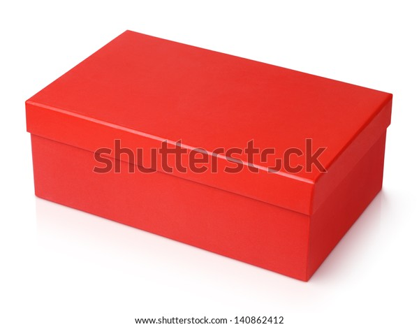 Red shoe box isolated on white with clipping path
