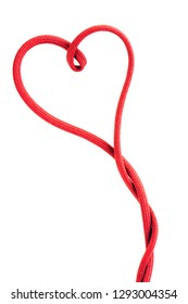 red shoe lace in a shape of heart