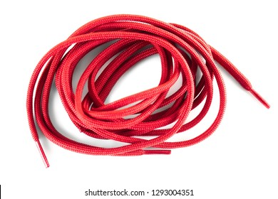 red shoe laces against white background