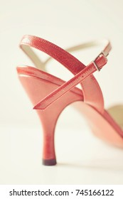 Red shoe seen from the side