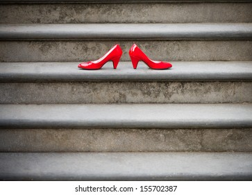 Red shoes on a stairway