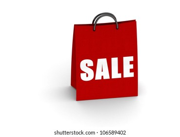 Red shopping bag with sale word
