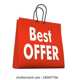 Red shopping bag with text best offer. White background.