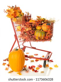 A red shopping basket filled with pumpkins and colorful fall foliage.  On a white background.