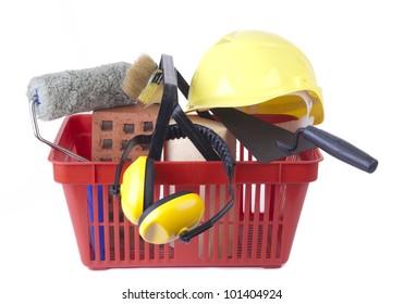red Shopping cart icon :  DIY