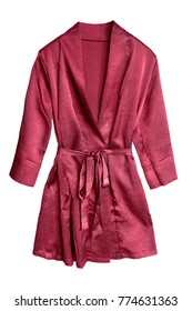Red short satin bathrobe isolated over white