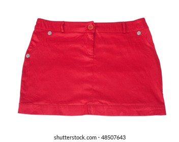 Red short skirt. Isolated on white background with clipping path