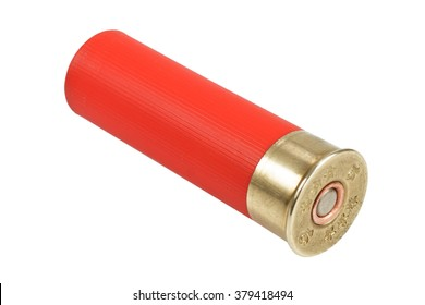 red shotgun cartridge isolated on white background