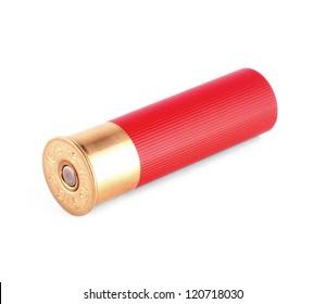 red shotgun shell isolated on white