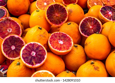 Red sicilian oranges at the street market