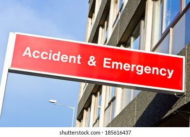 Red sign for an emergency department at a hospital