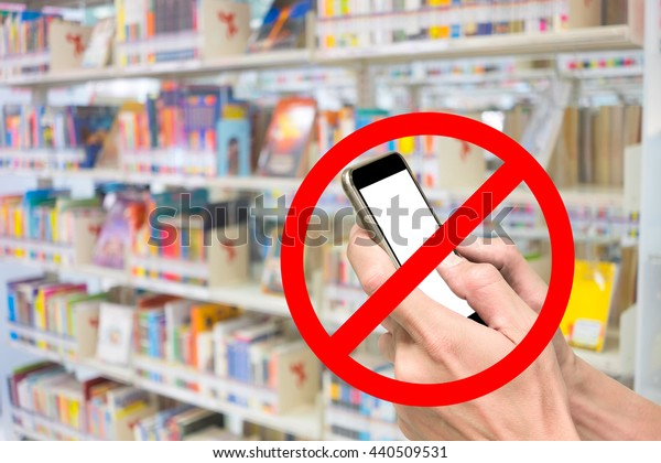 Red sign of phone are not allow, prohibit, forbidden, restricted in library.