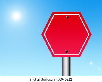 Red signal with space in blank to insert text or design over landscape background