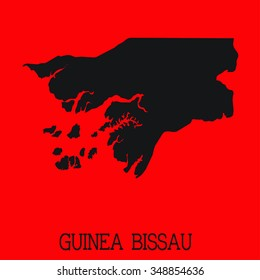 Red Silhouette of the Country Guinea Bissau