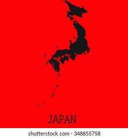 Red Silhouette of the Country Japan