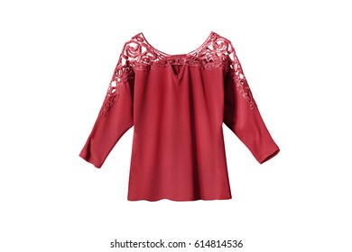 Red silk blouse with lacy shoulders on white background