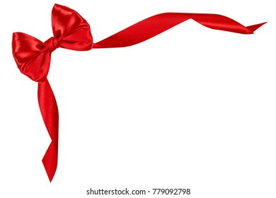 Red silk celebrate bow isolated on white background