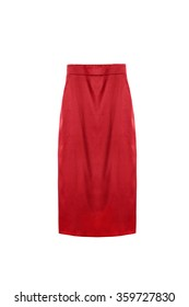 Red silk pencil skirt on white background