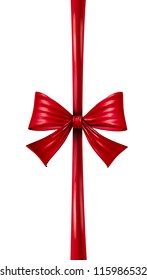 Red silk ribbon and bow in a vertical composition as a seasonal decoration for gift giving during a celebration as Christmas birthdays and anniversaries or valentine day on a white background.