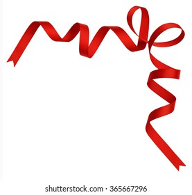Red silk ribbon corner isolated on white