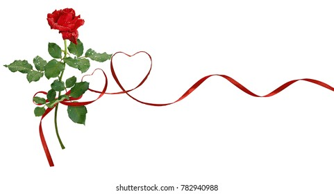 Red silk ribbon hearts and rose flower for Valentine's day isolated on white background