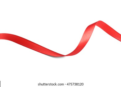Red silk ribbon isolated on white
