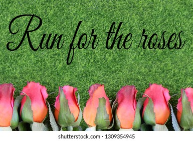 Red silk roses and artificial green grass for the running of the thoroughbred race called the Kentucky Derby. Text added.