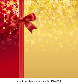red silky bow and ribbon on starry holiday golden background. raster