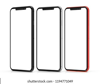 Red, silver and black smartphones with blank screen, isolated on black background.