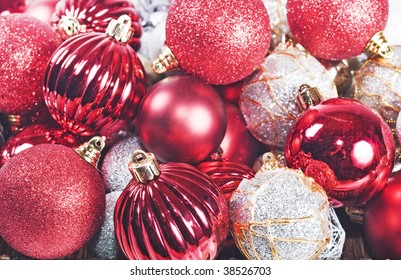 Red and silver christmas decorations
