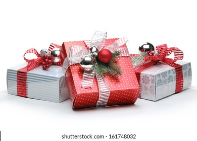 Red and silver gift box on white background