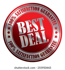 Red Silver Metallic Circle Best Deal 100% Satisfaction Guarantee Icon, Label, Banner, Tag or Sticker Isolated on White Background