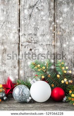 Red Silver White Christmas Ornaments Xmas Stockfoto Jetzt
