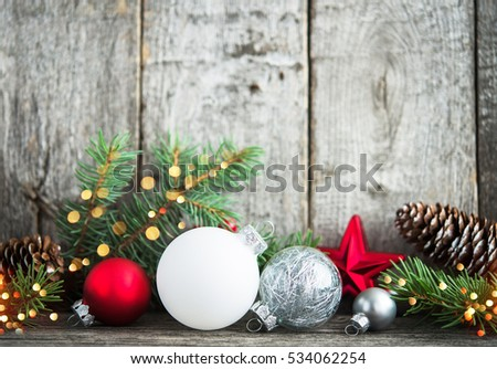 Red Silver White Christmas Ornaments Xmas Stock Photo Edit Now
