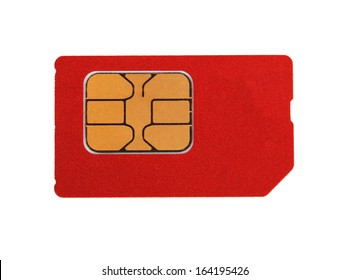 red sim card isolated on white background