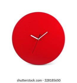 rote einfache runde Wanduhr - Armbanduhr einzeln auf weißem Hintergrund