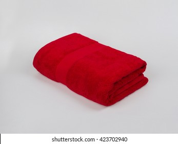 Red Single Towel folded on gray background