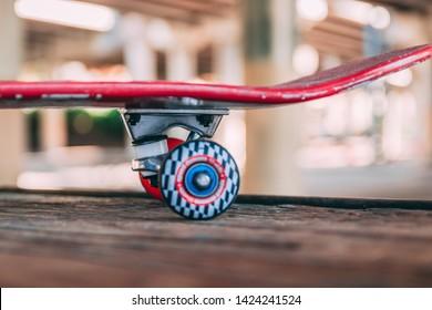 red skateboard in a skate park