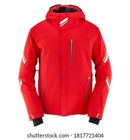 Red Ski Jacket Isolated on White. Waterproof Winter Coat with Adjustable Hood. Water Resistant Unisex Warm Hoodie Outwear Cotton Windproof Fabric. Mountain Hooded Clothing Wear