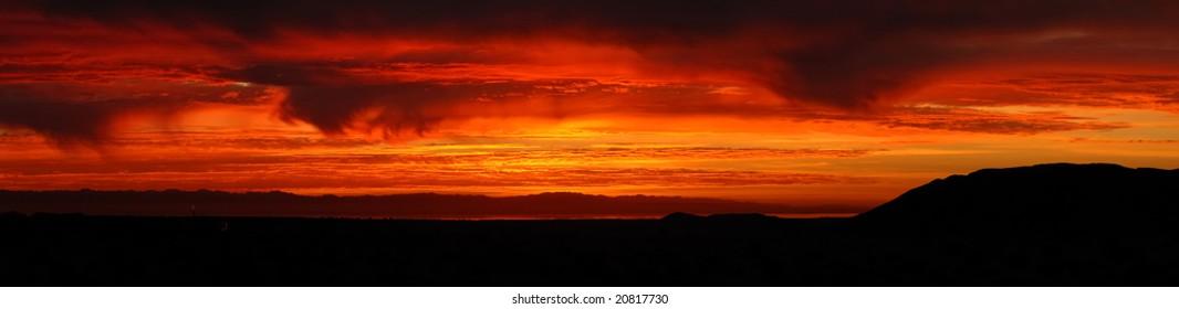 Red skies at sunrise at Salton Sea