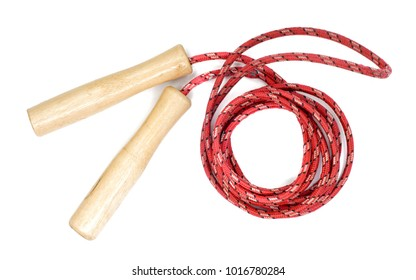 red skipping rope with wooden handles isolated on white with clipping path