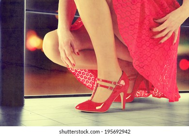 red skirt and woman