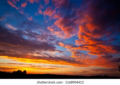 Red sky clouds at dusk vivid nature